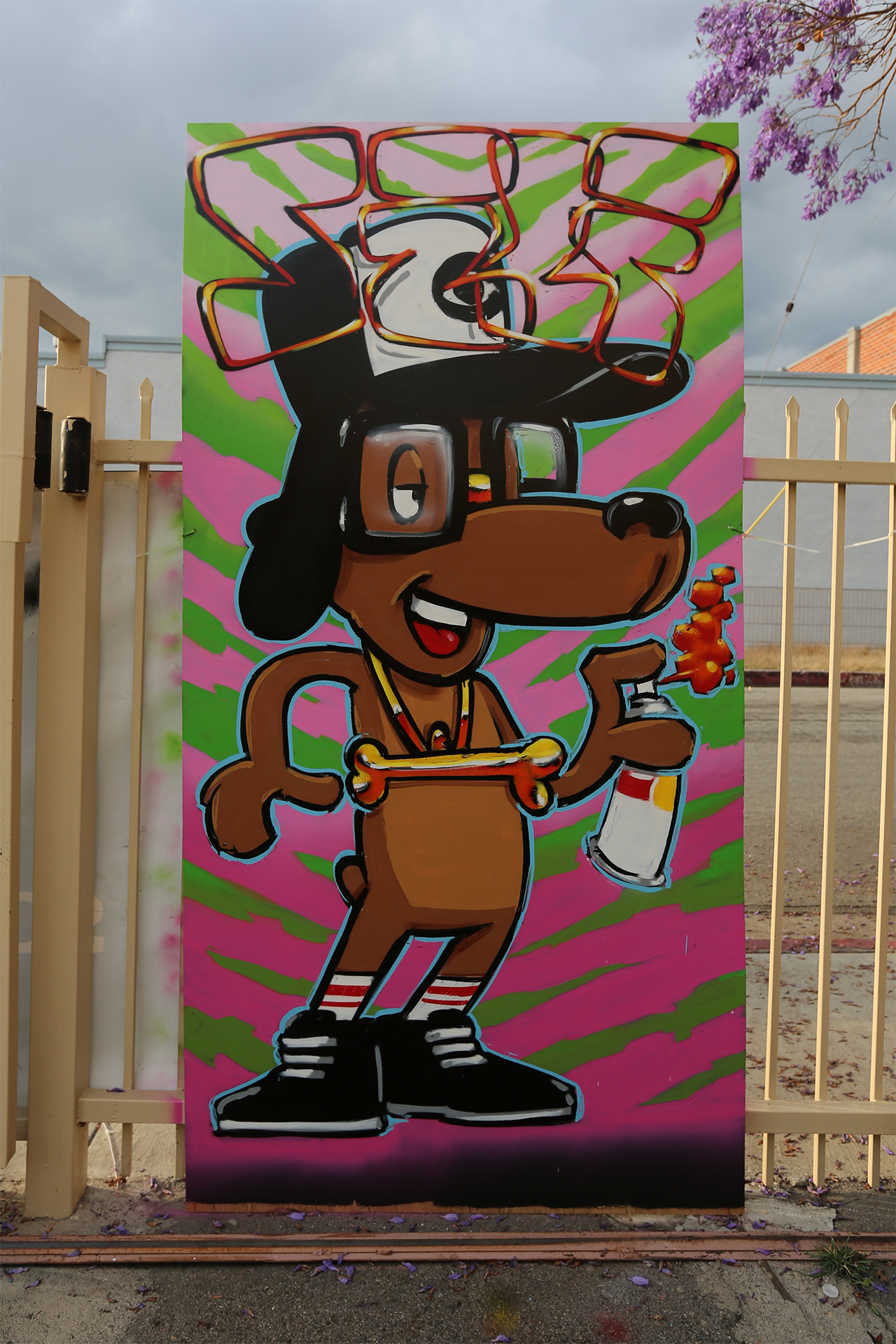 self uno selfuno character art spraypaint dog tiger stripe may 2015