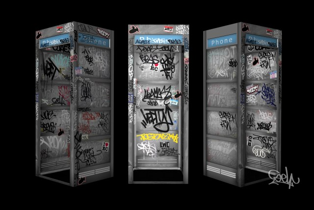 selfuno 3d model blokhedz phonebooth graffiti animation prop set design environment art direction madtwiinz imajimation street legends ink true school hip hop