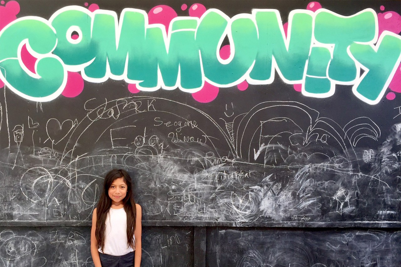 selfuno community school mural chalkboard march 2017