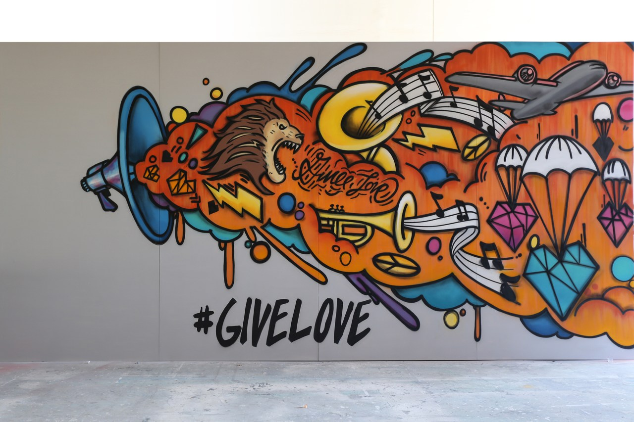 Give love andygrammer mural klughaus graffitiusa artist for hire losangeles selfuno tyer june 2017