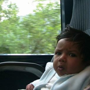 First train ride, Switzerland - 8 weeks