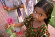 Street girl selling flowers