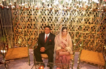 Bride and Groom sitting alone
