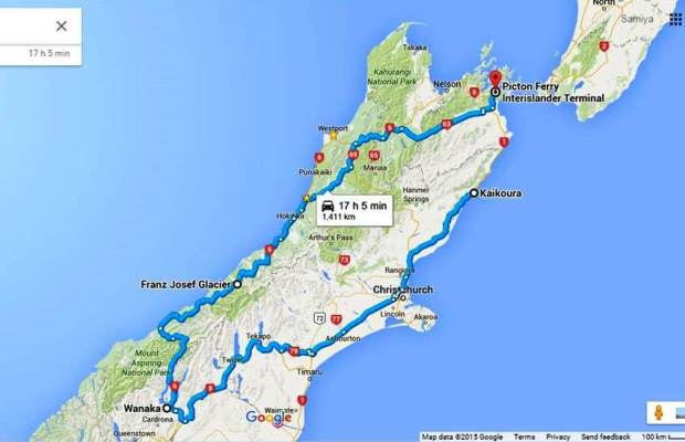 Tentative route for road trip in South Island