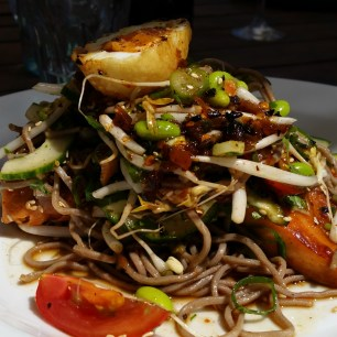 Soba Noodles and roasted salmon