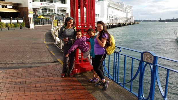 Waiting at Auckland harbour to board our 360 Discovery Cruise Ferry