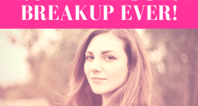 """girl staring at camera with a """"mona lisa"""" smirk with pink overlay and white text that reads, """"What I Learned From My Biggest Breakup Ever!"""""""
