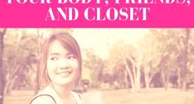 """girl in jogging clothes looks back away from running trail and smiles with pink overlay and white text that reads, """"How to Detox Your Body, Friends, and Closet"""""""