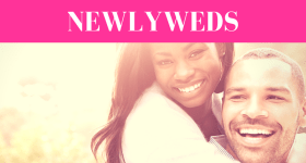 """girl on the back of man while both smile with pink overlay and white text that reads, """"3 Things to Never Say to Newlyweds"""""""