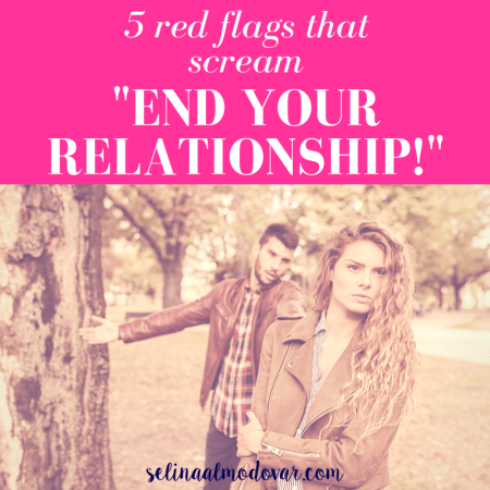 "angry girl walking away from guy who is trying to explain something in an outdoor nature setting with pink overlay and white text that reads, ""5 Red Flags that Scream 'End Your Relationship!"""