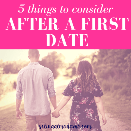 """guy and girl holding hands walking on a dirt path into horizon with pink overlay and white text that reads, """"5 Things to Do After a First Date"""""""