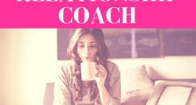 """girl sipping on coffee looking at a laptop while sitting in bed with pink overlay and white text that reads, """"Why You Might Need A Relationship Coach"""""""