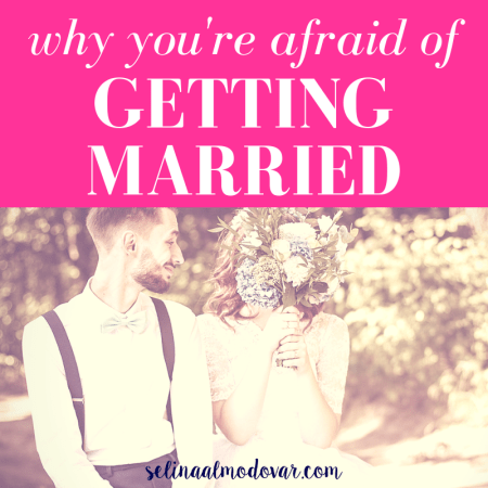 "bride and groom sit side by side while groom looks at bride and smiles as bride covers face with bouquet with pink overlay and white text that reads, ""Why You're Afraid of Getting Married"""