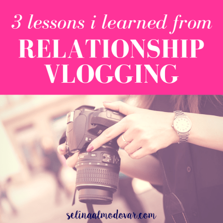 """hands of girl holding a dslr camera with pink overlay and white text that reads, """"3 Lessons I Learned From Relationship Vlogging"""""""
