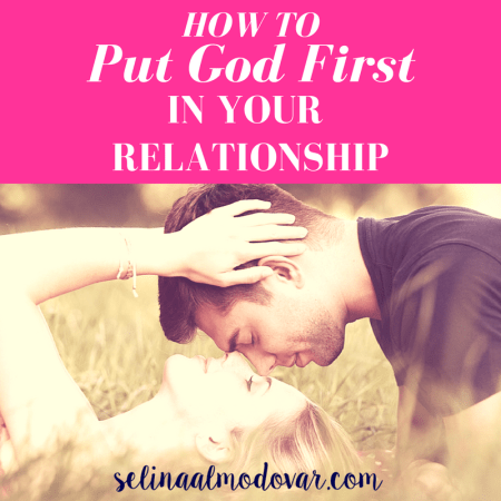 """girl laying in grass with guy hovering above her head, both eyes closed, with pink overlay and white text that reads, """"How to Put God First in Your Relationship"""""""