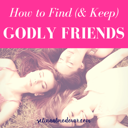 "three girls laying in the grass with their heads touching each other with eyes closed while one smiles with pink overlay and white text that reads, ""How to Find (and Keep) Godly Friends"""