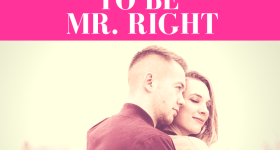 "guy looking over girls shoulder while girl closes eyes and smiles with pink overlay and white text that reads, ""5 Signs He's Pretending to Be Mr. Right"""