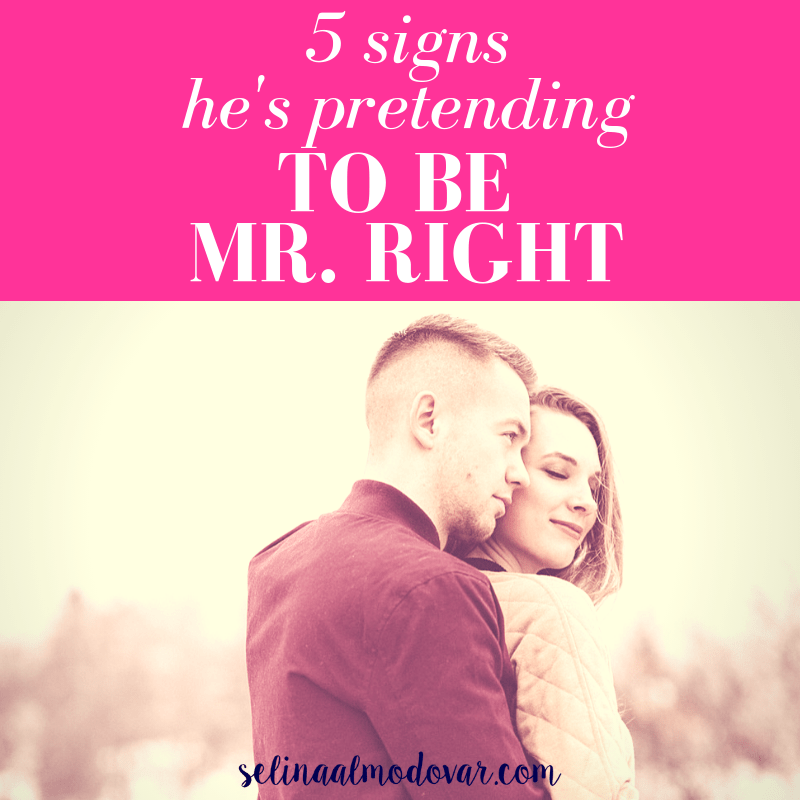 """guy looking over girls shoulder while girl closes eyes and smiles with pink overlay and white text that reads, """"5 Signs He's Pretending to Be Mr. Right"""""""