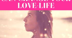 "woman looking upwards with tiny lights floating in the forefront in pink overlay with white text that reads, ""How Fasting and Praying Can Change Your Love-Life"""