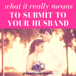 "huband kisses wife on the head as both face each other and have closed eyes with pink overlay and white text that reads, ""What It Really Means To Submit To Your Husband""."