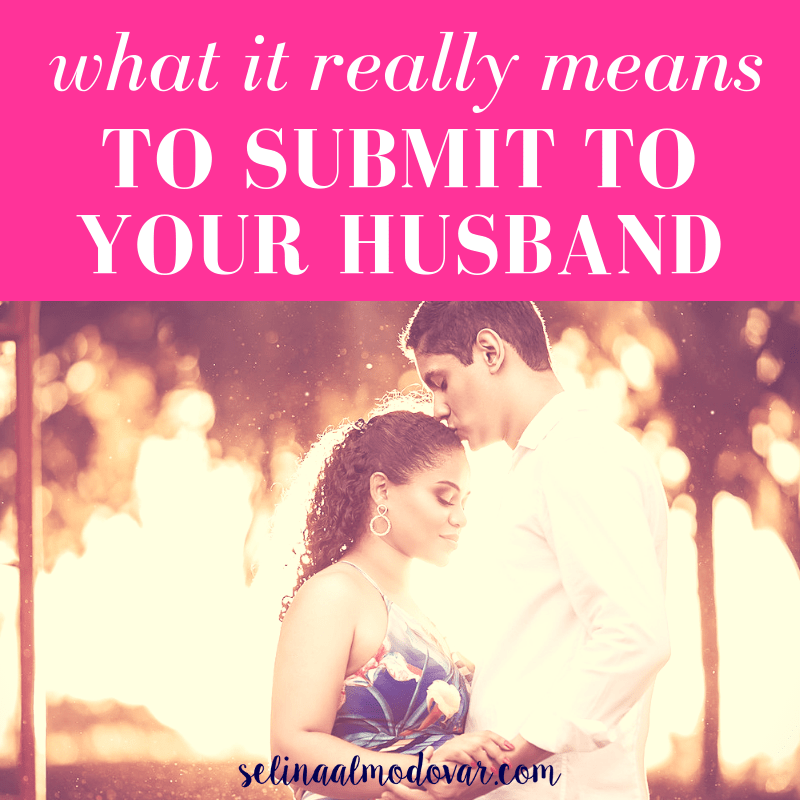 """huband kisses wife on the head as both face each other and have closed eyes with pink overlay and white text that reads, """"What It Really Means To Submit To Your Husband""""."""