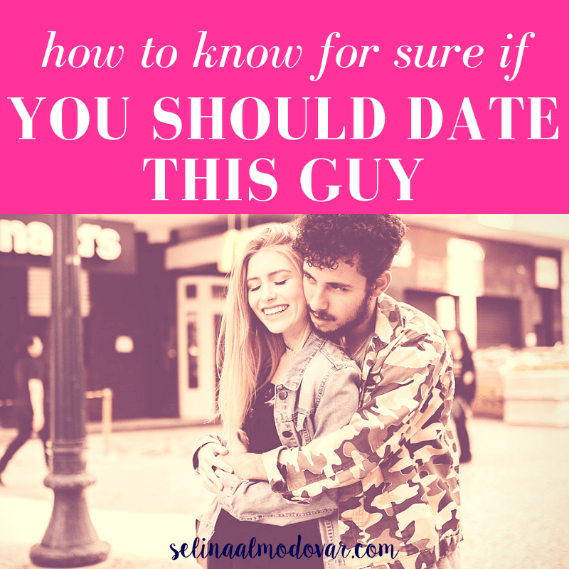 "girl smiling while guy looks up and holds her from behind with pink overlay and white text that reads, ""How to Know For Sure If You Should Date This Guy"""