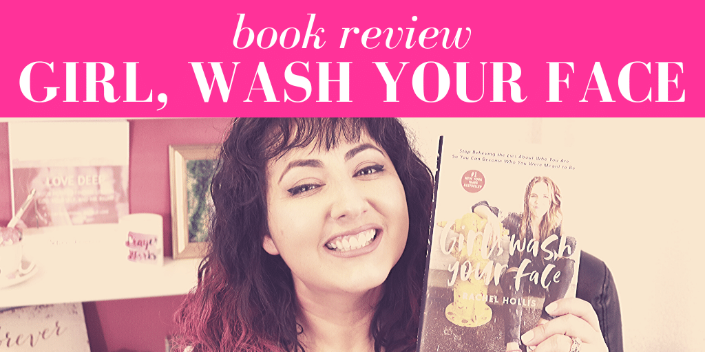 "Selina Almodovar smiling in front of bookshelf holding up the book, ""Girl, Wash Your Face"" with pink overlay and white text that reads, ""Book Review: Girl, Wash Your Face"""