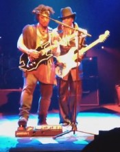 D'Angelo and Jesse Johnson of the Time jamming on stage together on the UK tour. Photo: Selina Ditta