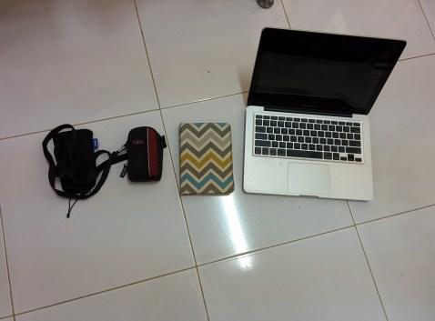 1 external charger, 1 camera, 1 Kindle, 1 laptop