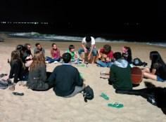 NIghttime jam session on the beach.