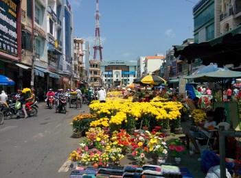 Flower market in town.