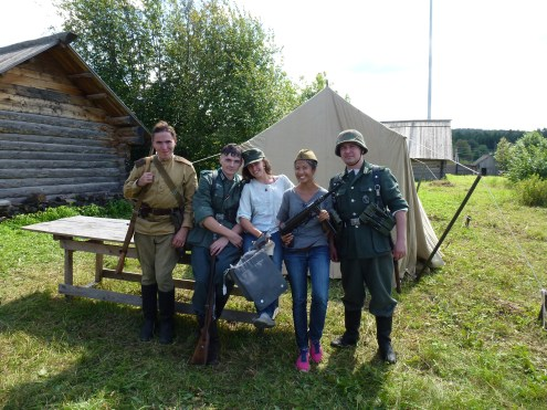 Posing with some WWII re-enactors.