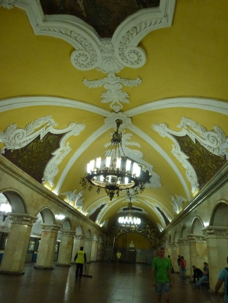 Inside one of the Moscow subway stations.
