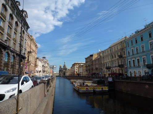 One of the canals with the Church of the Savior on Spilled Blood in the back.
