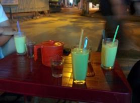 Enjoying avocado smoothies during a Tra VInh evening.
