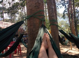 Relaxing at one of the many hammock cafes near Ao Ba Om in Tra Vinh.