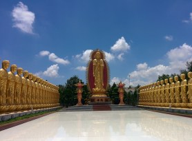 Visiting a Vietnamese Buddhist temple in Tra Vinh.
