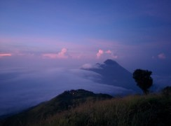 Watching the sunset on our Mt. Merbabu hike.
