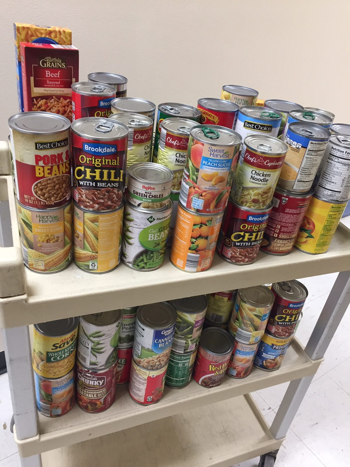 8d025856b779 For the 100th day of school they collected 100+ cans for our food pantry!  Thanks Lisbon Lions!