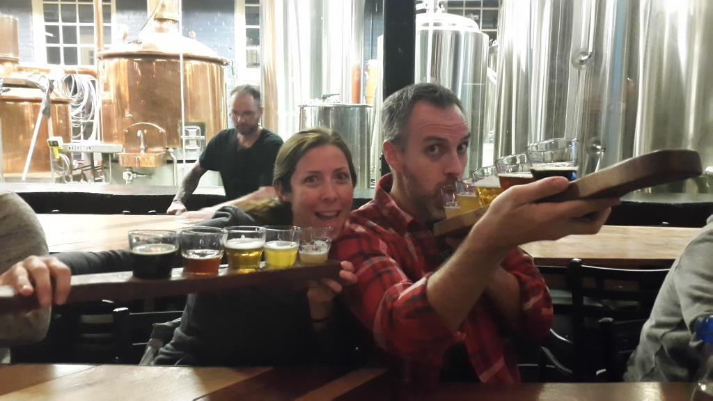 Flight of beer at Heist Brewery in Charlotte