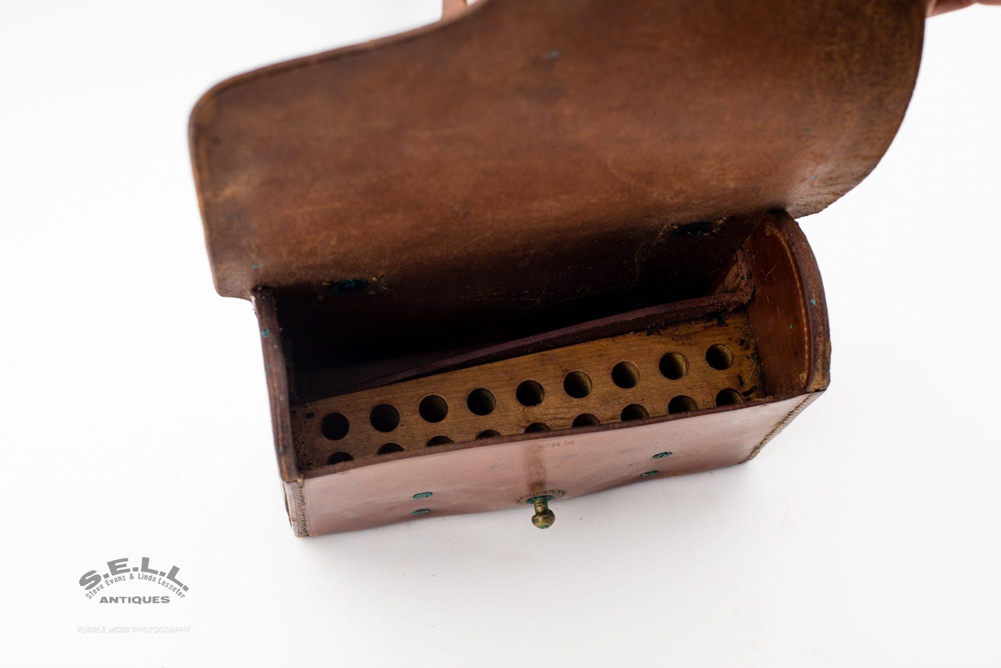 hight resolution of  original hotchkiss artillery primer pouch wooden block fuses