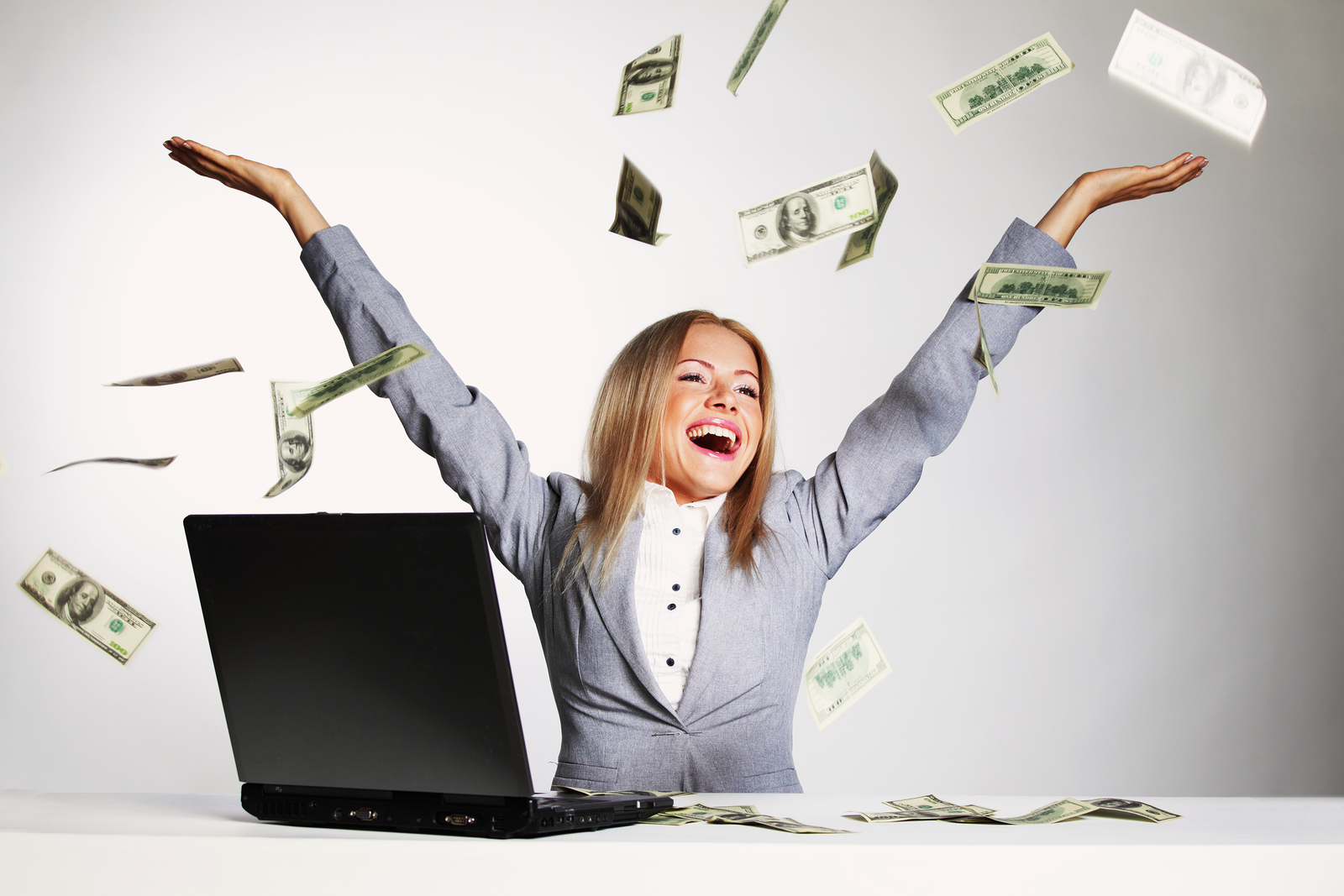 Image result for woman happy throwing money