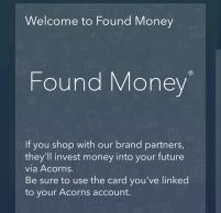 Acorns found money screen