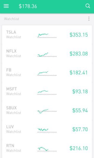 Popular stocks on Robinhood app