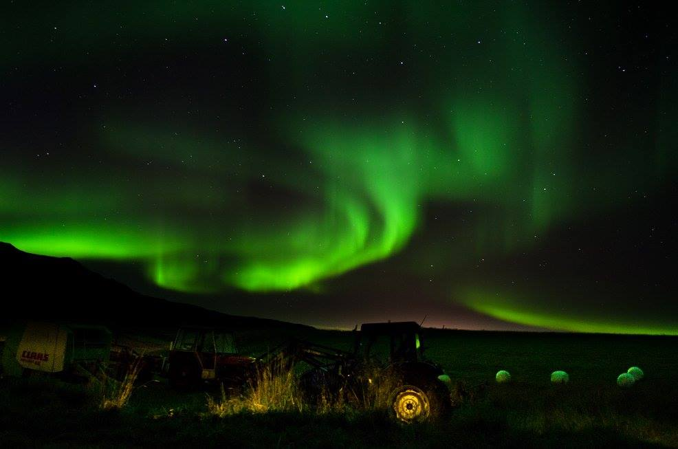 northern lights at an Icelandic farm