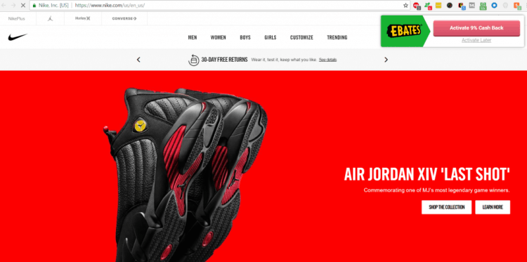 Nike homepage with Ebates button in corner