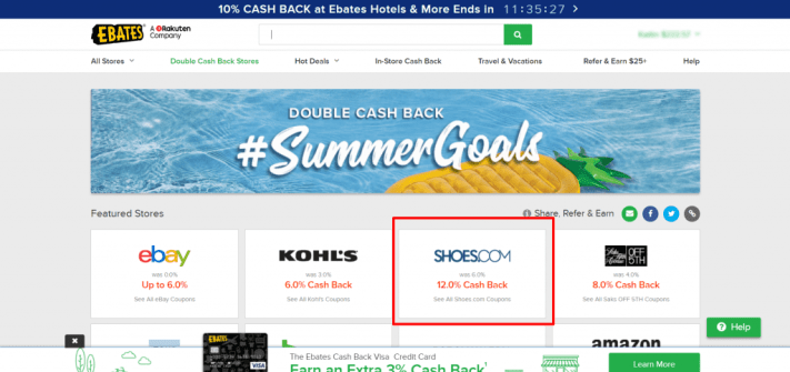 Ebates homepage with Shoes.com offer