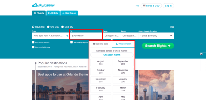 Skyscanner website flexible search