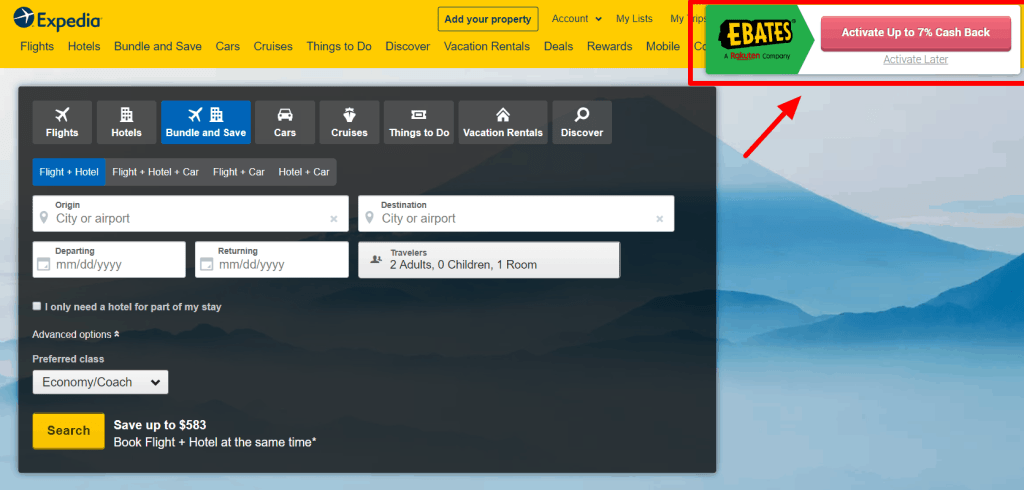 Expedia site with Ebates cash back offer
