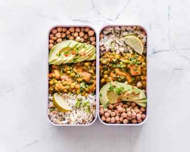 Chickpea, rice, and avocado meal